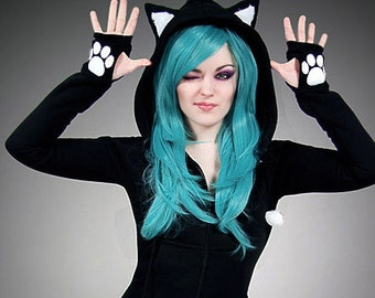 Black cat long hoodie ears animal kitty