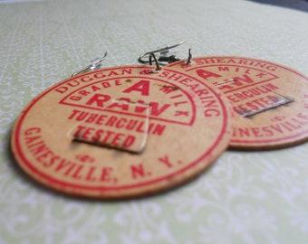 SALE: Vintage Milk Cap Earrings
