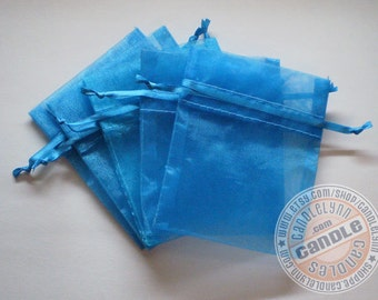 10 TURQUOISE 3x4 Sheer Organza Bags - Party favors, jewelry, gifts, sachets and much, much more