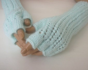 Mint Half Finger Gloves-Fingerless Gloves, Arm Warmers-Ready to ship-