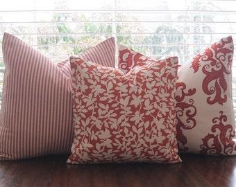 Pillow, Decorative Throw Pillow Cover, Designer Orange Leaves Pillow Cover 18 x 18, 20 x 20, 22 x 22, 24 x 24