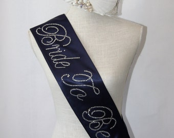 Nautical Bride To Be- Bachelorette Sash -Navy Blue Wedding Sash