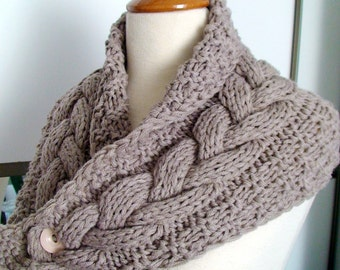 Cowl Neck Warmer Scarf Light Brown/ Beige Camel Handknit Cabled Thick and Soft SALE