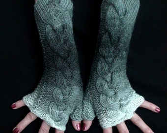 Fingerless Gloves, Grey Shades Cabled  Acrylic Wrist Arm Warmers