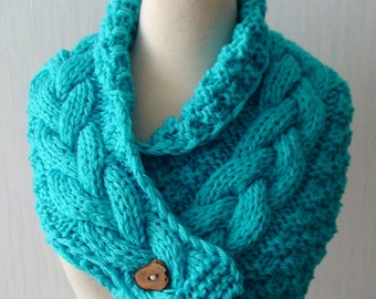 Chunky Cowl/ Neck Warmer Acrylic Handknit Turquoise Cabled  with a Wooden Button