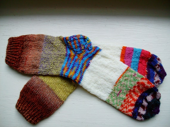 Hand Knit Soft And Warm  Striped Women's Superwash Wool  Socks, Size 9 - 9.5 (10 inches length) - Crazy Socks