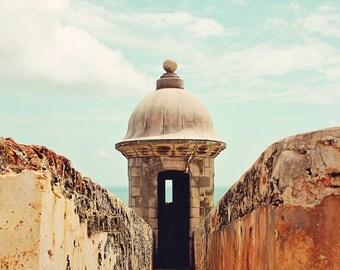 travel architecture landscape home decor teal aquamarine green ginger peach cream - El Morro Turret - Fine Art Photography Print