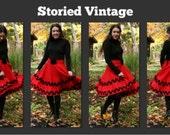 Vintage 60s Christmas Circle Skirt The Mistletoe Skirt
