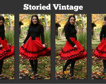 Vintage 60s Christmas Circle Skirt The Mistletoe Skirt