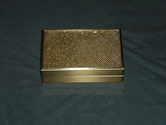Vintage Jewelry Box Case: 50s Whiting & Davis Gold Mesh RARE