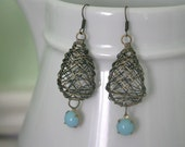 Bronze Bird's Nest Earrings with Turquoise Charms Rustic Nature Vintage Style Dangle