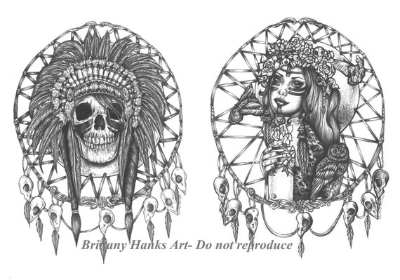 Dreamcatcher Set - Two Satin Paper Prints Skull Dream Catcher Black and White Wall Art Drawing Native American  Feather Southwestern
