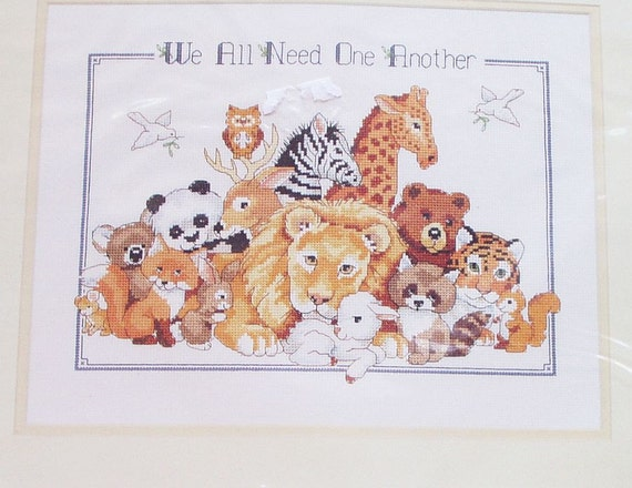 Vintage Cross Stitch Kit Sunset Counted Cross Stitch Needlework Wild  Animals Lion Fox Bear 90s