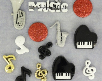Jesse James Buttons Embellishments Button Mania Music Red White Black Themed Novelty Shank Buttons