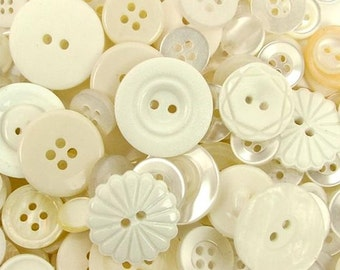 Buttons Haberdashery Ivory Mixed Buttons Button Collection Button Assortment White Whites