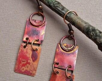 Geometric earrings, copper earrings, dangle earrings, copper jewelry, artisan jewelry, light weight earrings, unique jewelry, unique earring
