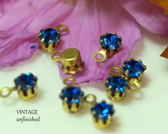 Vintage Swarovski 4mm Capri Blue Brass Prong Set Round Drops (10)