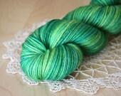 Hand Dyed Yarn / DK Weight / Green Emerald Chartreuse Grass Superwash Merino Wool