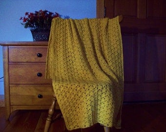 "Hand Crochet Yellow Afghan Blanket Throw Corn Silk Yellow 64x39"" Solid Color Lap Couch Sofa Adult Many Colors @ CozyHomeCrochet"