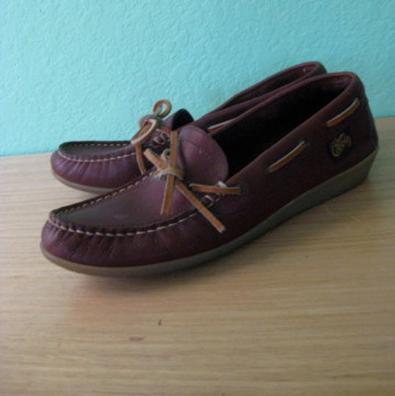 80s shoes - leather boat shoes with rubber sole - size 8.5