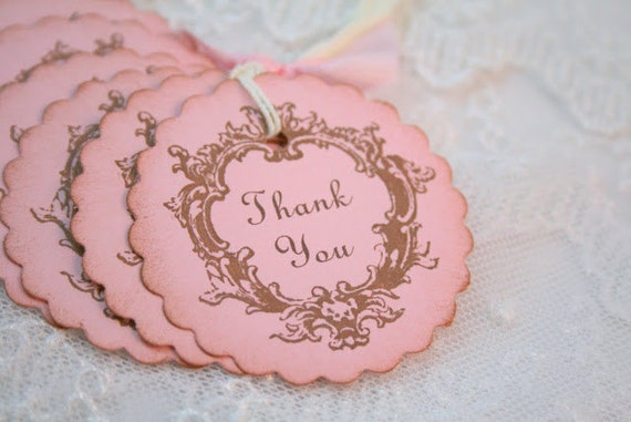 thank you baby shower tags favor gift tags vintage pink girl shower