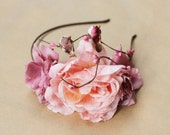 reserved for daphne - woodland rose headband with little birds - forest headpiece, wedding hairband, pastel pink, romantic, statement.