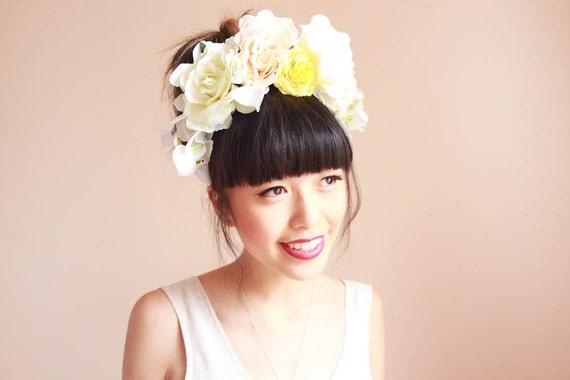 statement white flower crown headband  // wedding bridal headpiece, lana del rey, nature, garden party, summer, spring