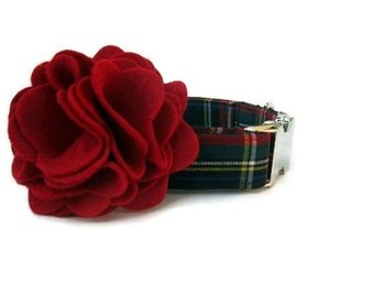 Custom Plaid Dog Collar and Flower Accessory - Kensington Plaid - Nickel Hardware