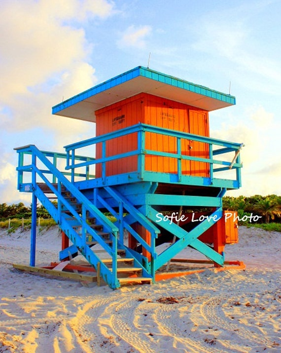 Orange and Blue Lifeguard house, Miami Beach FL 8 x 10 print
