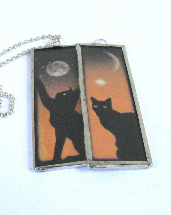 Glass Art Pendant - Halloween Black Cat and Moon in an Orange Sky -  Two sided Hand soldered