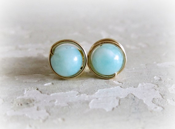 Gold Filled Post Earrings, Amazonite Stud Earrings, Aqua Post Earrings, Wire Wrap Earrings, Seafoam Studs, Gemstone Posts, Natural Stone