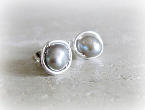 Gray Freshwater Pearl Stud Earrings - Silver Wrapped Wrapped Posts