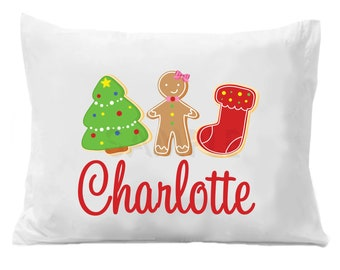 Christmas Cookies , Cookie Personalized Pillow Case , Christmas Bedding Boys or Girls