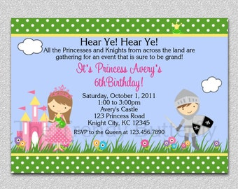 Princess Knight Party Invitation Princess Knight  Birthday Party Invitations Twins Siblings Printable Boy and Girl