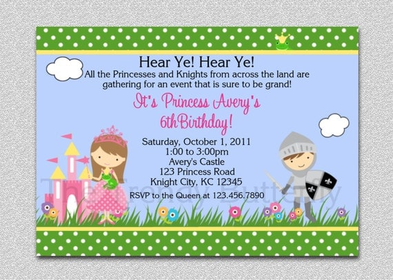 Princess Knight Party Invitation Princess Knight Birthday Party – Princess and Knight Party Invitations