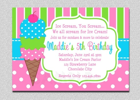 ice cream birthday invitations pink and green ice cream, Party invitations