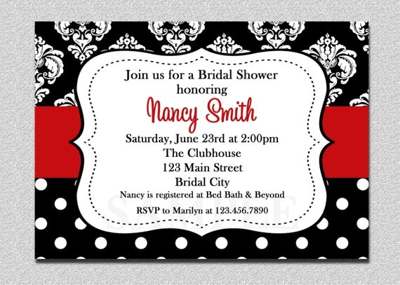 Damask Bridal Shower invitations Damask Baby Shower Invitation