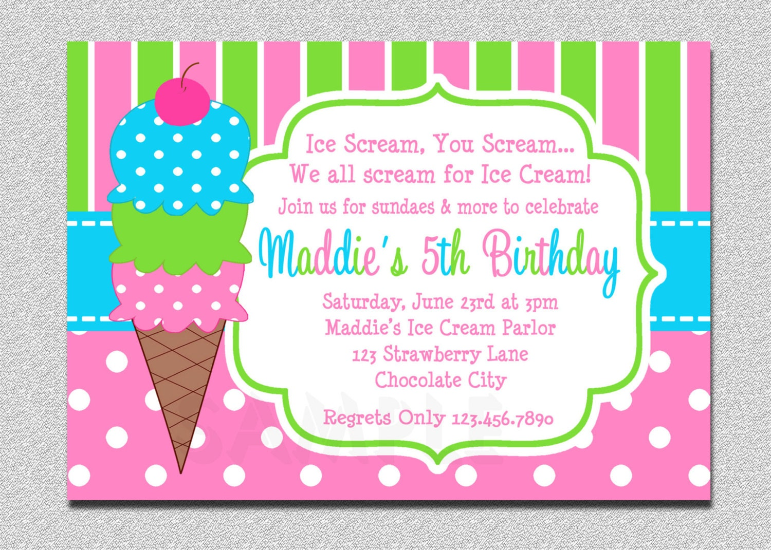Ice Cream Birthday Invitations Pink and Green Ice Cream