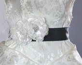 Ivory Peony Black Sash  - 22 colors available