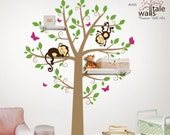 Large tree wall decal with monkeys and butterflies  for nursery, suitable for shelves