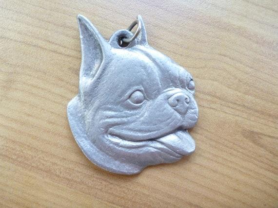 VTG. Boston Terrier Pendant- Pewter, Charm, Dog, Animal