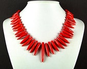 Red Coral Chili Tusks Necklace with Sterling Silver - N350A - TheSilverBear