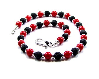 Red Coral, Volcanic Lava & Sterling Silver Necklace - N348