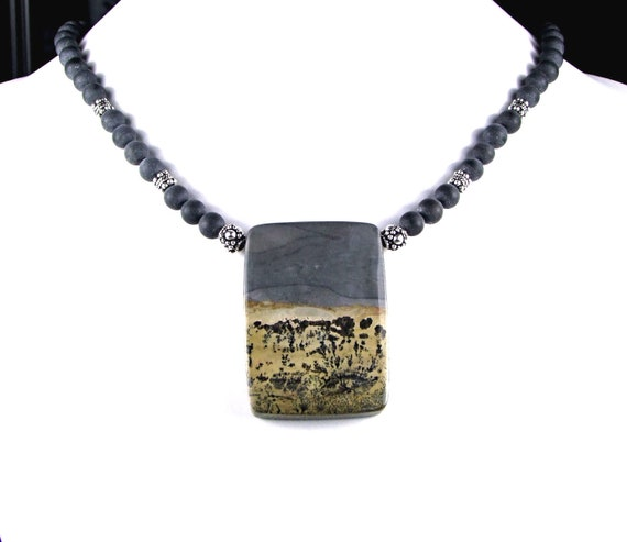 Chinese Dendritic Jasper necklace - N408