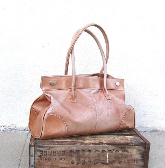Vintage Large Tan Worn in Leather Shoulder Tote Bag