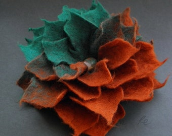 Ombre Copper Brown Turquoise Spring Felt Flower Pin Brooch