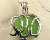 Sale Exclusive STAINLESS STEEL Elephant Jewelry GENUINE Sea Glass Necklace -  Green Elephant Locket