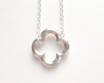 Simple Clover Necklace - little rhodium / silver finish open design decorative 4 leaf lobe outline on delicate silver plated 16.5 inch chain