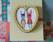 Bright Couple in Wooden Yellow Heart Frame Illustrated Brooch