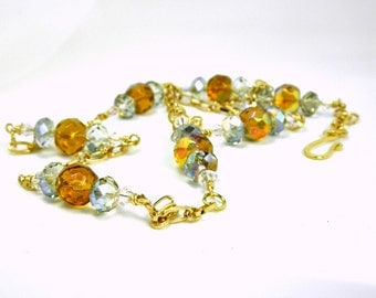 Amber Glass, Ice Blue Glass,  AB Clear Swarovski Crystal & GP Chain Necklace